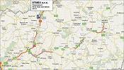 Pohľad na mapu západného Slovenska. Šípka ukazuje na umiestnenie firmy na mape.
